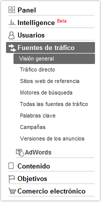 menu fuentes de tráfico Google Analytics