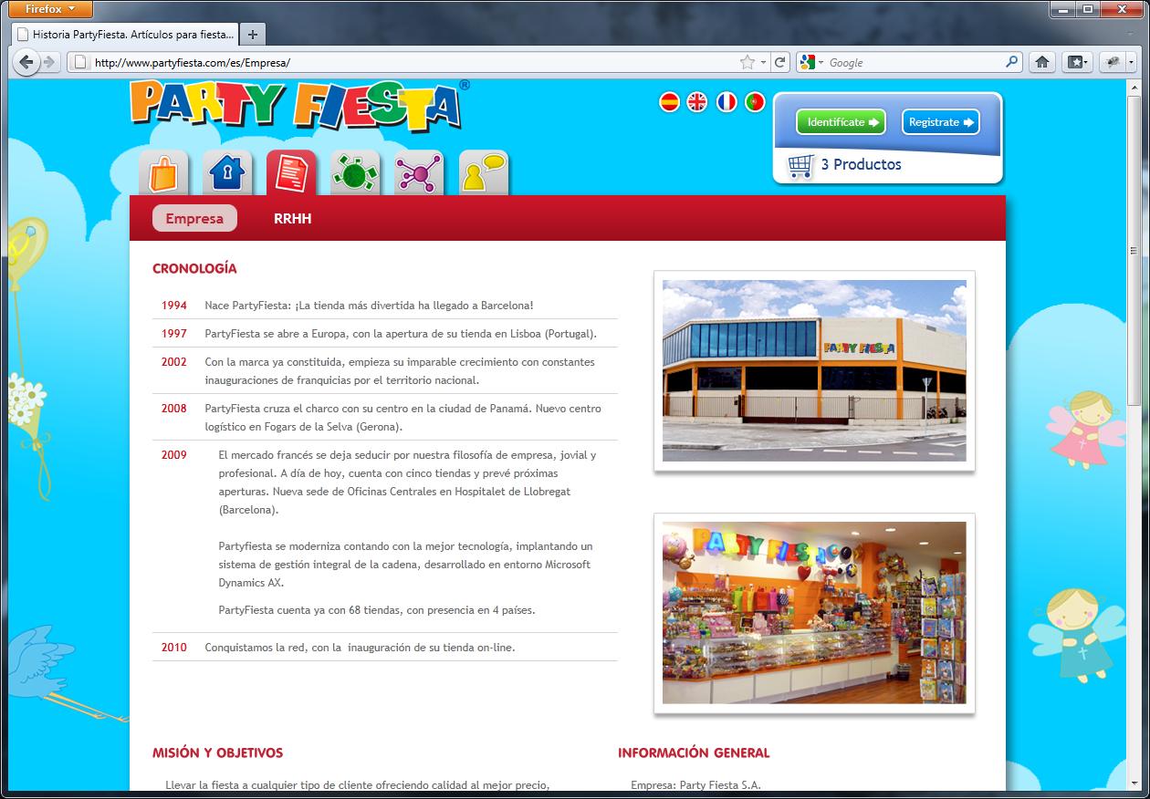 Página de información de la empresa